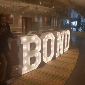 BOND Letter Lights for Xmas Party at St Mellion